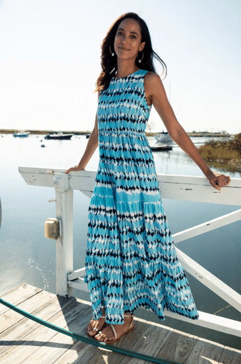 Tyler Boe - Rachel Tiered Maxi Dress: Blue Watercolor