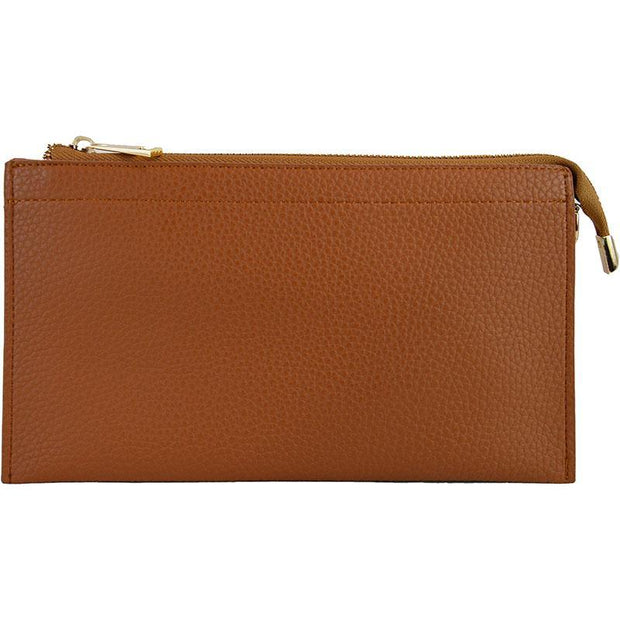 Ahdorned - Faux Leather Multi Compartment Convertible Clutch - Camel