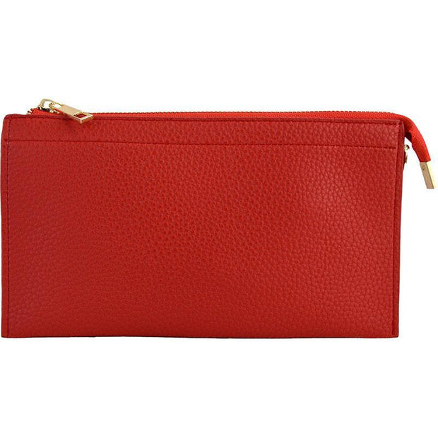 Ahdorned - Faux Leather Multi Compartment Convertible Clutch - Red