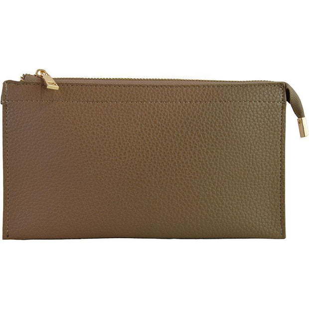 Ahdorned - Faux Leather Multi Compartment Convertible Clutch - Khaki