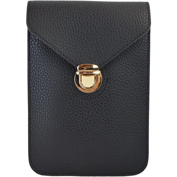 Ahdorned - Leatherette Adjustable Crossbody Phone Case - Black