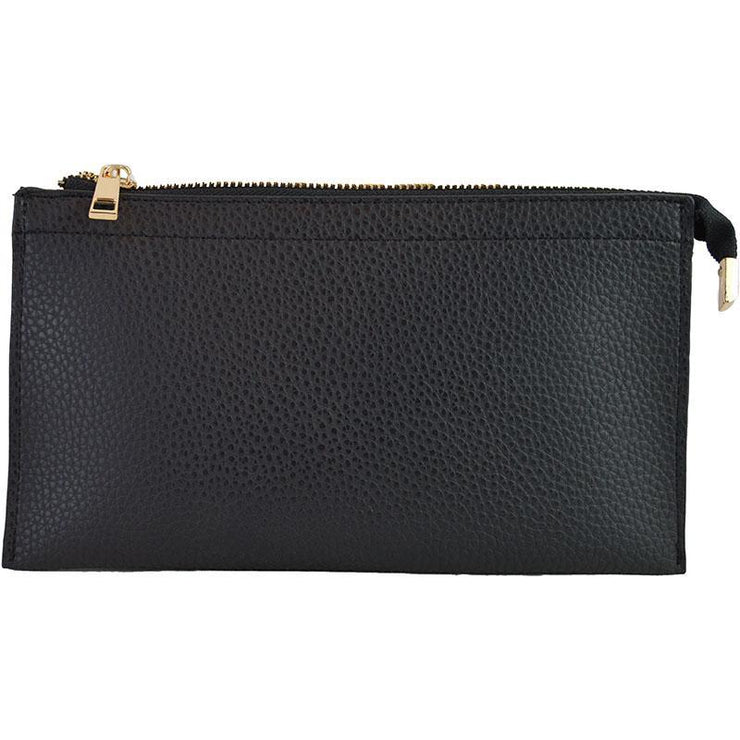 Ahdorned - Faux Leather Multi Compartment Convertible Clutch - Black