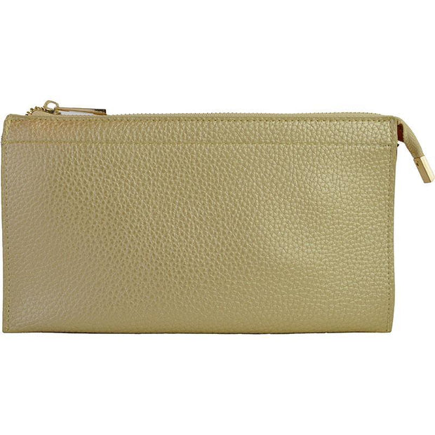 Ahdorned - Faux Leather Multi Compartment Convertible Clutch - Gold
