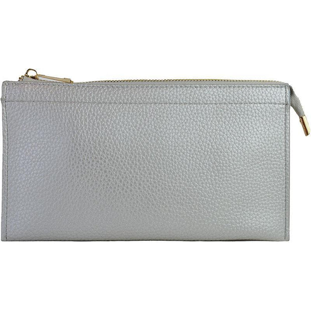 Ahdorned - Faux Leather Multi Compartment Convertible Clutch - Lt. Grey