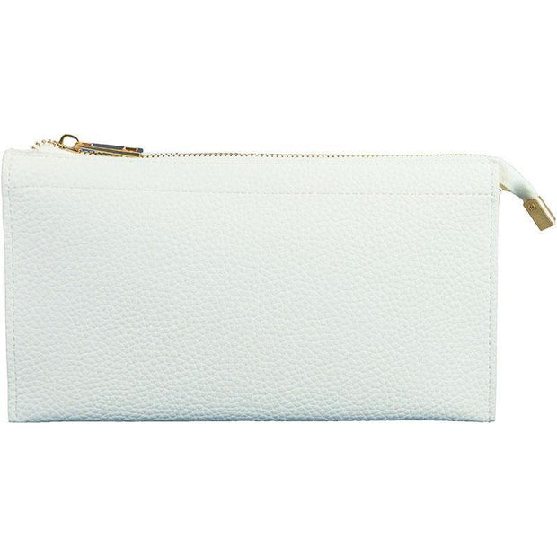 Ahdorned - Faux Leather Multi Compartment Convertible Clutch - White