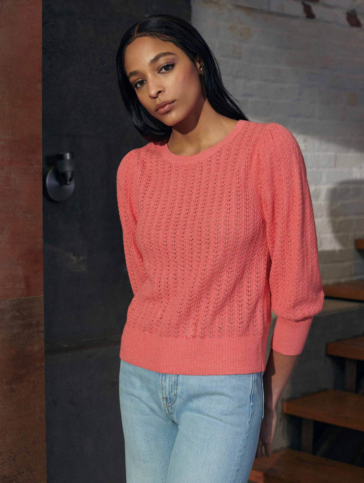 White & Warren - Cotton Lace Stitch Crewneck - Coral