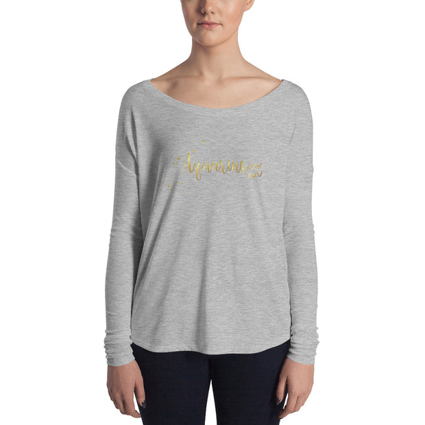 Aquarius Women's Flowy Astrology Long Sleeve Tee