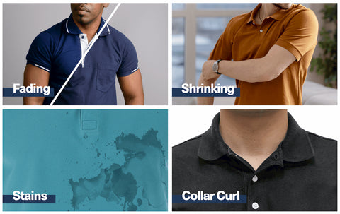 guys in polo shirts with stains, fading, shrinking