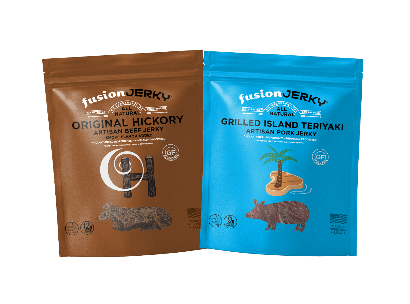 Original Hickory and Grilled Island Jerky Trial Pack Two 1 oz Packs - Fusion Jerky