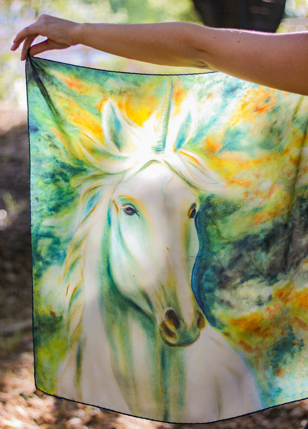 Archangel Unicorn Italian Silk Satin - 66 x 66 cm