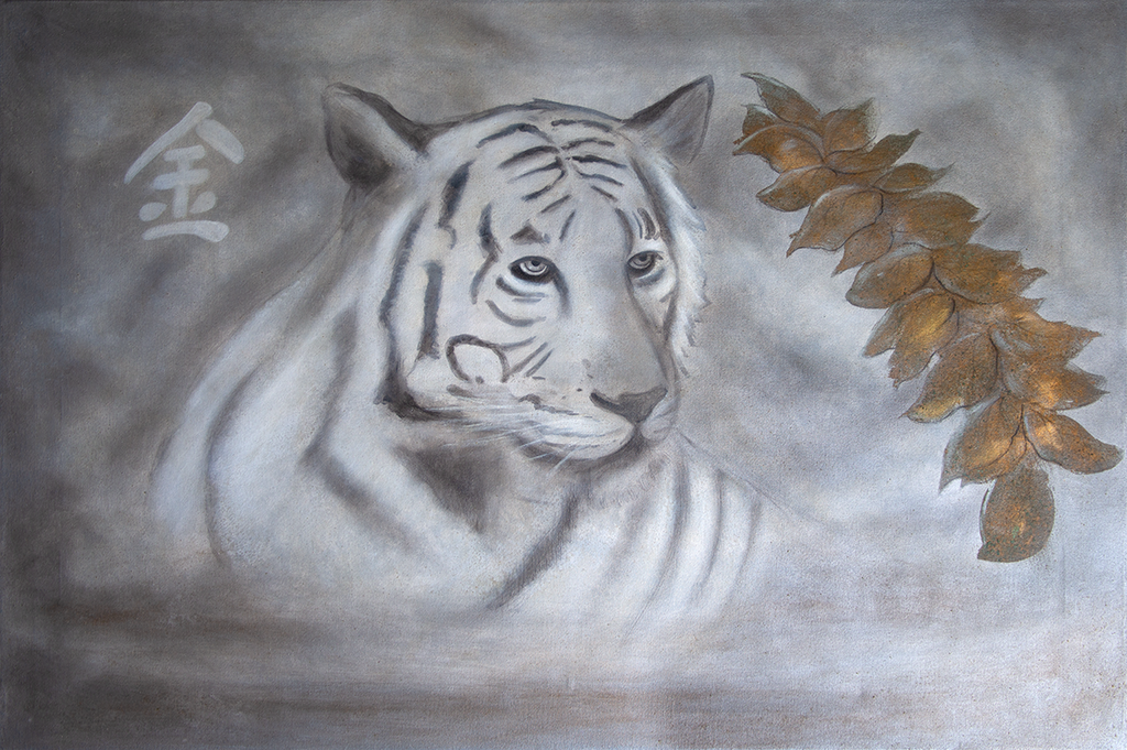 """White Tiger"" Silk Satin Scarf 140 x 180 cm"