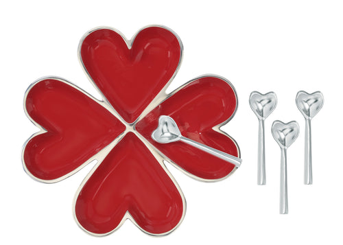 Five Hearts with 5 Heart Spoons - Red