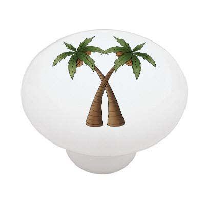 Double Palm Trees Ceramic Drawer Knob