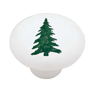 Woodland Pine Tree Silhouette Ceramic Drawer Knob
