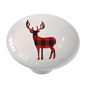 Standing Deer Silhouette Red Plaid Drawer Knob