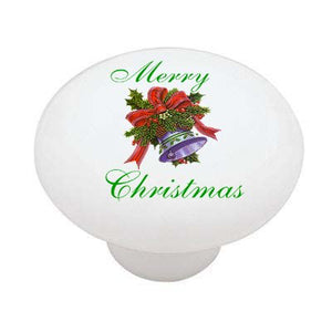 Merry Christmas Bell Ceramic Drawer Knob