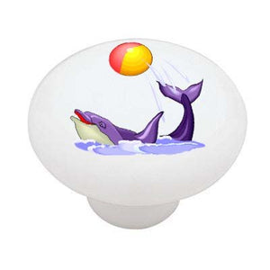 Playing Dolphin Ceramic Drawer Knob