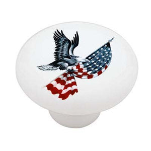 Eagle Carrying Flag Ceramic Drawer Knob