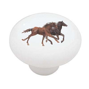 Running Horses Ceramic Drawer Knob