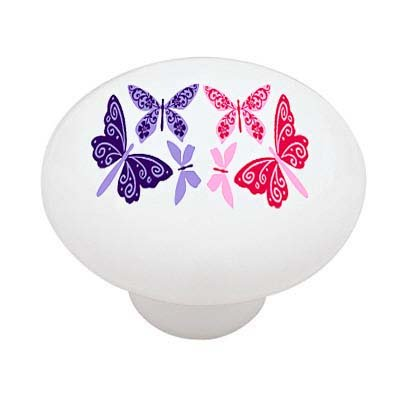Butterfly Floral Ceramic Drawer Knob