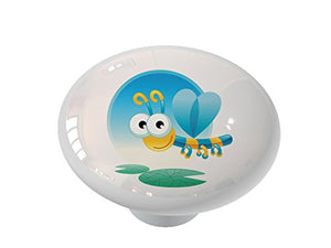 Crazy Dragonfly Peeper Ceramic Drawer Knob