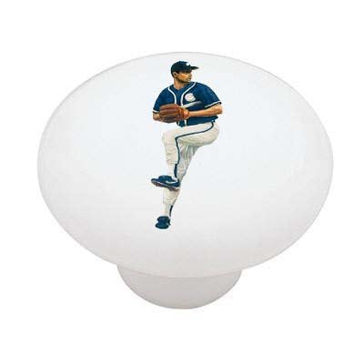 Baseball Player Pitcher Ceramic Drawer Knob