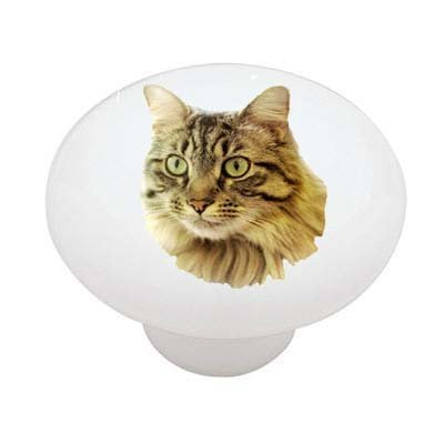 Main Coon Cat Ceramic Drawer Knob