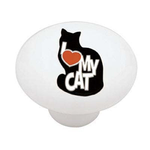 I Love My Cat Ceramic Drawer Knob