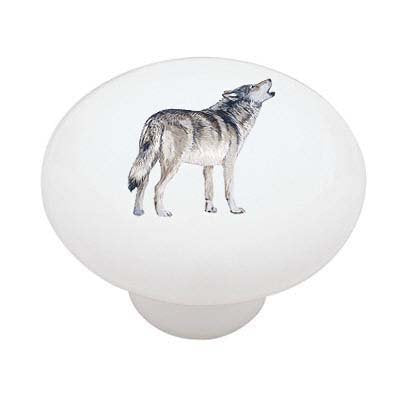 Wolf Howling Ceramic Drawer Knob