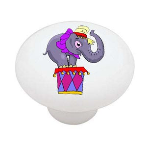 Circus Elephant Ceramic Drawer Knob