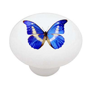 Blue Butterfly Ceramic Drawer Knob