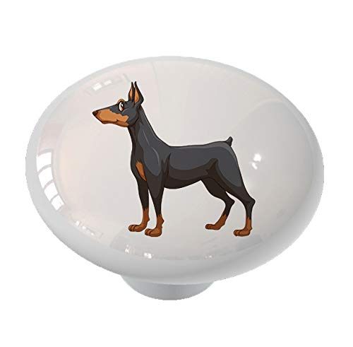 Happy Doberman Dog Ceramic Drawer Knob