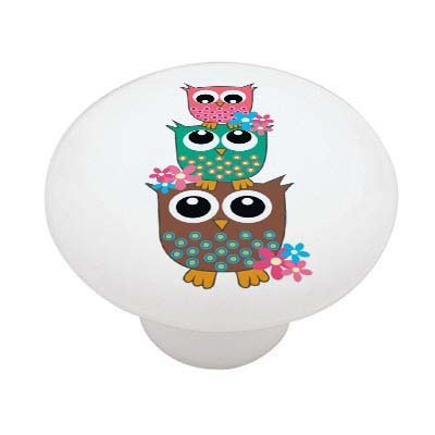 Retro Owl Stack Ceramic Drawer Knob