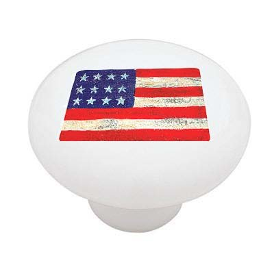 Americana Flag Ceramic Drawer Knob