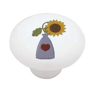 Sunflower in Vase Ceramic Drawer Knob