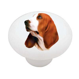 Basset Hound Ceramic Drawer Knob