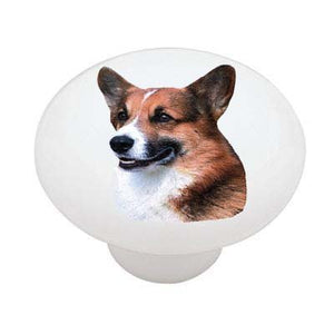 Welsh Corgi Ceramic Drawer Knob