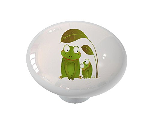 Mother and Baby Frog Ceramic Drawer Knob
