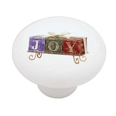 Christmas Joy Candles Ceramic Drawer Knob