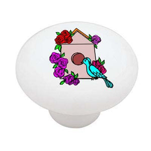 Birdhouse and Roses Ceramic Drawer Knob