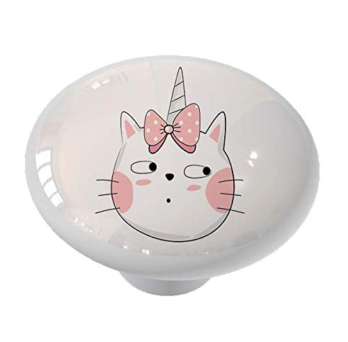 Surprised Cat Unicorn Drawer Knob