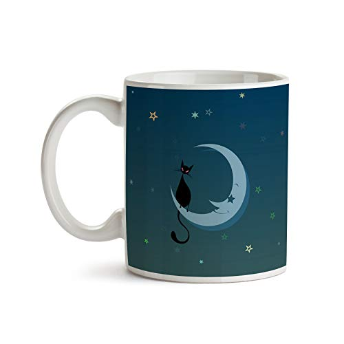 Little Black Cat on the Moon 11oz Coffee Mug - Tea Mug