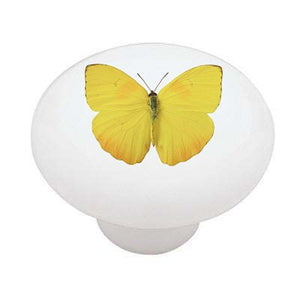 Yellow Butterfly Ceramic Drawer Knob