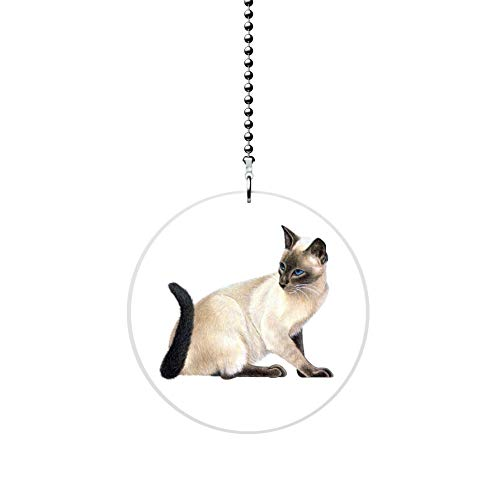 Sitting Siamese Cat Fan Pull