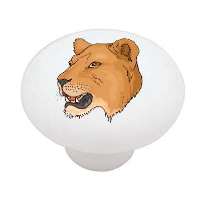 Lioness Portrait Ceramic Drawer Knob
