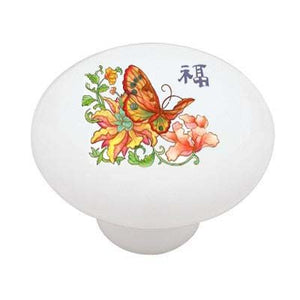 Asian Butterfly Ceramic Drawer Knob