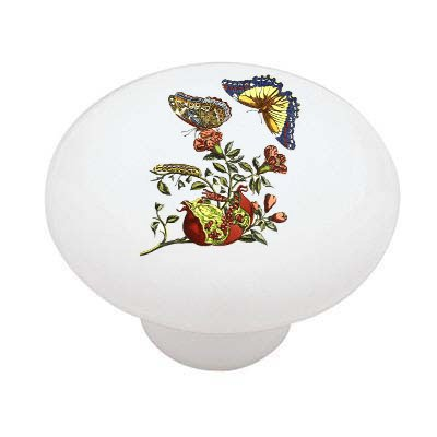 Butterflies and Pomegranate Ceramic Drawer Knob