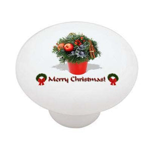 Merry Christmas Poinsettia Ceramic Drawer Knob