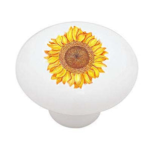 One Sunflower Ceramic Drawer Knob