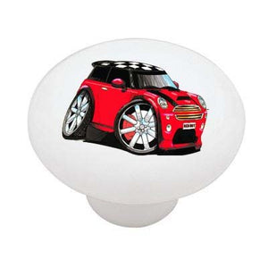 Red Hot Mini Cooper Ceramic Drawer Knob